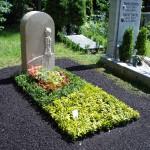 Sonder-Grabgestaltung zweifarbig mit Euonymus Fortunei