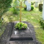 Provisorische Grabanlage in Münchner Friedhof