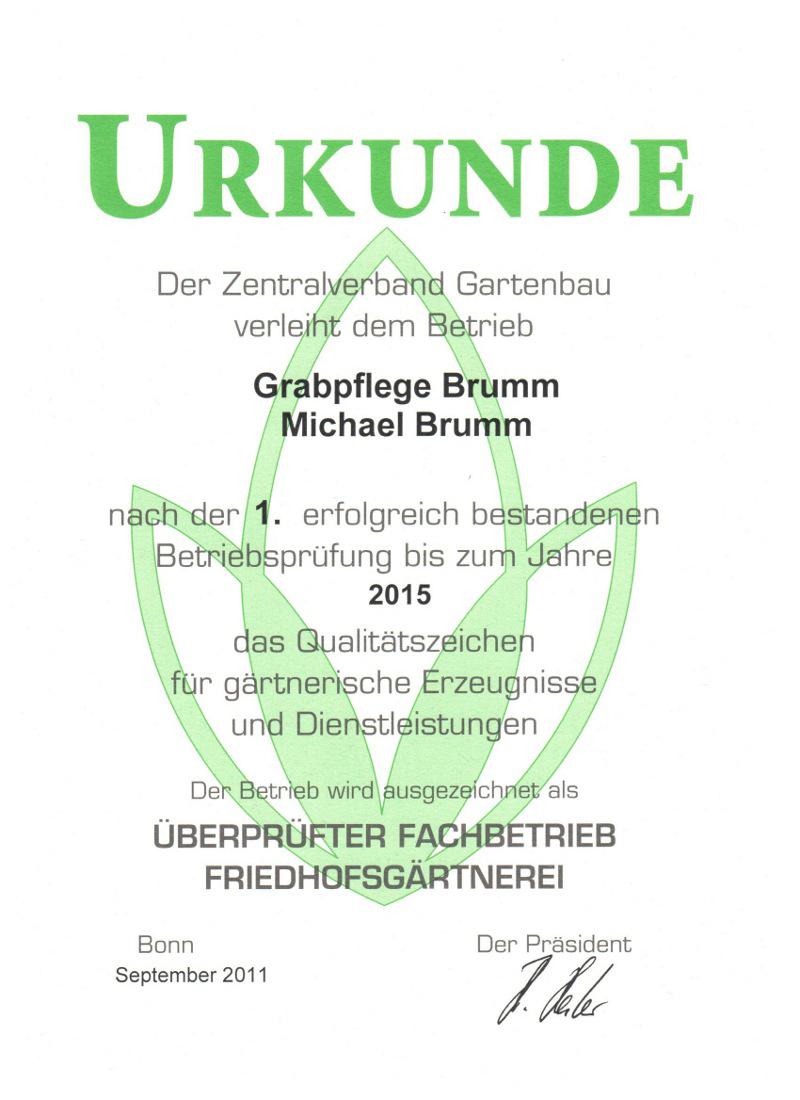 Urkunde Zentralverband Gartenbau Auszeichnung Grabpflege Michael Brumm München